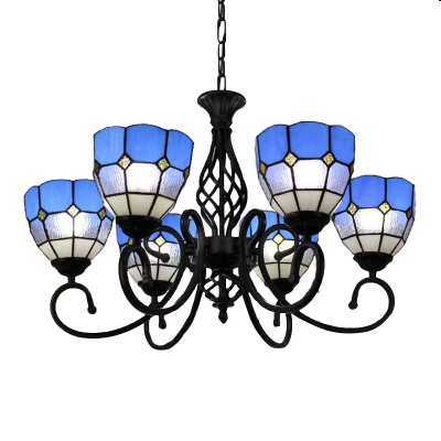 Blue Tiffany Style 5 Light Chandelier With Handmade Stainde Gl