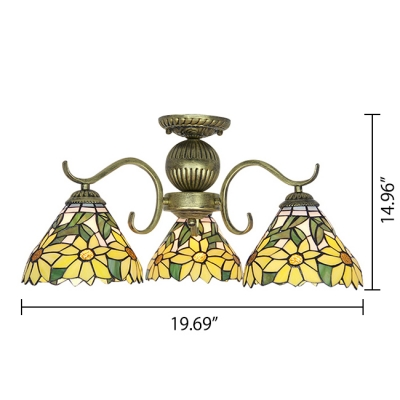 Three-light Yellow Daisy Pattern Bronze Finished Tiffany Ceiling Light