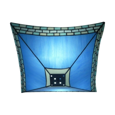 Blue Glass Flush Mount Ceiling Light in Tiffany Nautical Style with Stained Glass Shade