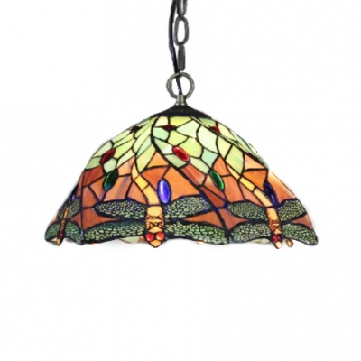 Muticolored Dragonfly Hanging Lamp with 12