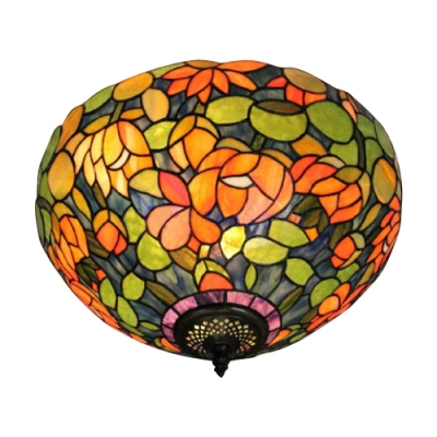 16-Inch Wide Tiffany Flush Mount Ceiling Light Upward with Colorful Flower Shade, 2-Light