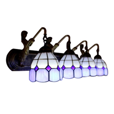 Tiffany 4-Light Mermaid Supported Lampbase Sconce Lighting in Blue&White Colors