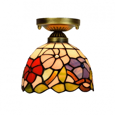 Dome shade tiffany flush mount ceiling light with 8w flower glass dome shade tiffany flush mount ceiling light with 8 aloadofball Image collections