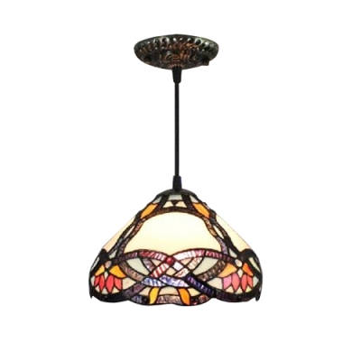 Classic Art Loft Hanging Lamp with Baroque Design Conical Glass Shade in Tiffany Style, 8