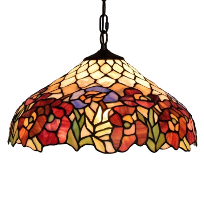 Vintage Art 16-Inch Wide 2 Light Hanging Lamp with Tiffany-Style Floral Pattern Glass Shade in Multicolor Finish