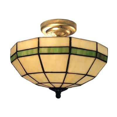Inverted Tiffany Style Semi Flush Mount 14