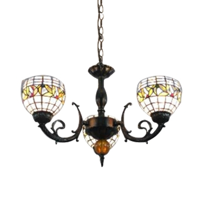 Colorful Glass Shade Tiffany Style Bowl Design 3-Light Chandelier