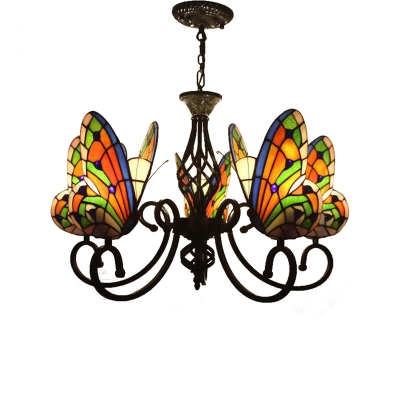 Kids Room Living Room Tiffany Style Stained Glass Chandelier with Butterfly Shaped Lamp Shade 3 Sizes for Option