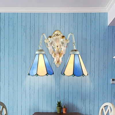 9.4-Inch Wide Two Light Wall Sconce with Blue & White Stained Glass Shade in Tiffany Style