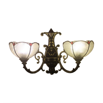 White Frosted Glass Jewel Decoration Inverted Sconce Lighting