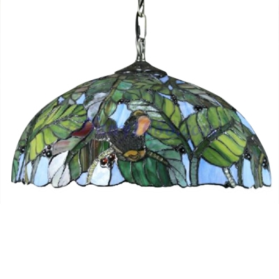 Vintage Classic Art Tiffany Stained Glass 2-Light Pendant Light with Leaf Pattern, Colorful,18