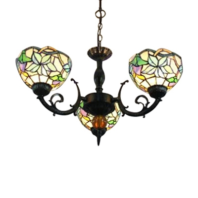 3-Light Bowl Chandelier with Colorful Glass Shade