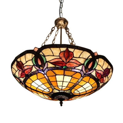 Tiffany Style Glass & Steel Ceiling Light Fixture with Multi-colors Bowl Shade