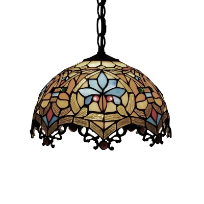 Tiffany-Style Victorian Ceiling Pendant Fixture with Splendid Dome Glass Shade in Multicolor Finish