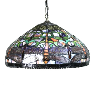 Vintage Pendant Light with Tiffany Style Dragonfly Pattern Glass Shade, 18