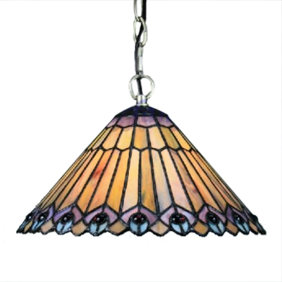 Conical Shade Hanging Lamp with Tiffany Peacock Tail Glass Shade in Vintage Style, 12