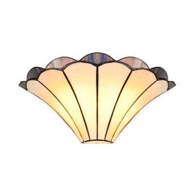 2-Light Double Wall Sconce Tiffany Style Stained Glass Hallway Lamp Floral Design, 12