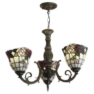 Glass & Steel Ceiling Lamp with 3 Arms Floral Chandelier Fixture