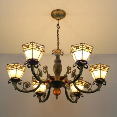 Tiffany 6-Light Vintage Stained Glass Shade Chandelier in Bronze Finish