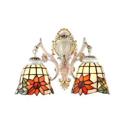 Floral Theme and Bell Shaped Glass Shade in 16-Inch Wide Tiffany-Style Double Light Wall Sconce