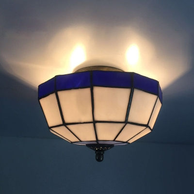 Tiffany-Style Semi Flush Mount Ceiling Light with 10
