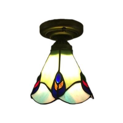 Clic Art Semi Flush Mount Ceiling Light With Pea Tail Gl