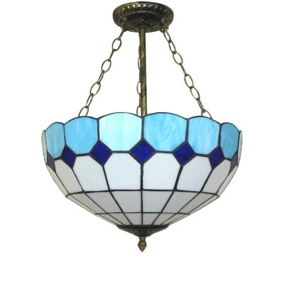 Mediterranean Style Tiffany Upward Semi Flush Mount Fixture, 12/16-Inch Wide Blue Glass Shade with Metal Chain
