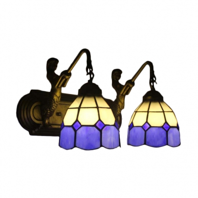 Double Light Wall Sconce in Mediterranean Style Mermaid with White & Purple Glass Shade, Tiffany Style
