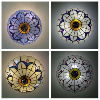 """12"""" Wide Flush Mount Ceiling Light with Tiffany Glass Tulip Shade in White/Blue/Beige/Clear"""