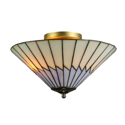13 In Wide Conical Glass Shade in Purple and White Tiffany Style Flush Mount Ceiling Fixture, Up Lighting