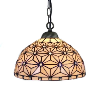 Antique Design Tiffany Art Glass Pendant Light 12-Inch Wide Dome Glass Shade