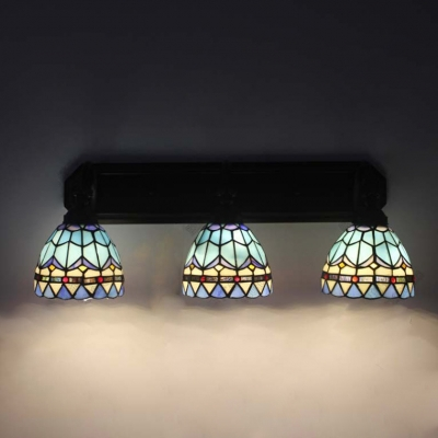Baroque Tiffany-Style 3 Light Stained Glass Shade Sconce Lighting in Matte Black Finish