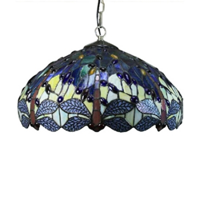 Antique Style 2-Light Ceiling Light with Dragonfly Pattern Tiffany Colorful Glass Shade, 18