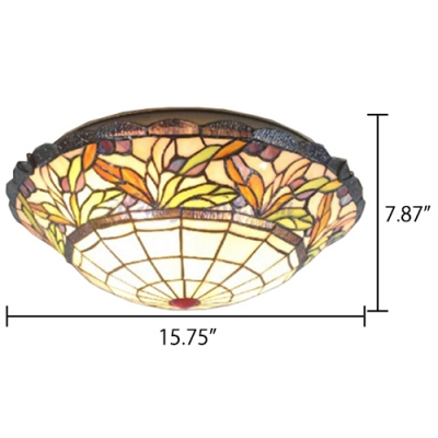 Tiffany Two Light Flush Mount Light in Rural Style with Colorful Glass Shade 16