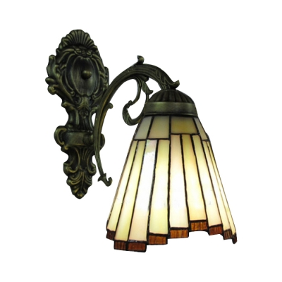 "10.2""H*6.3""W Wall Sconce with Tea-Tone Seedy Geomitric Glass Shade"