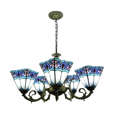 5-Light Blue&White Inverted Stained Glass Shade Chandelier in Antique Bronze