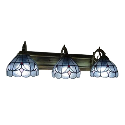 Tiffany Style Antique Art Design Three Light Blue Stained Glass, 24