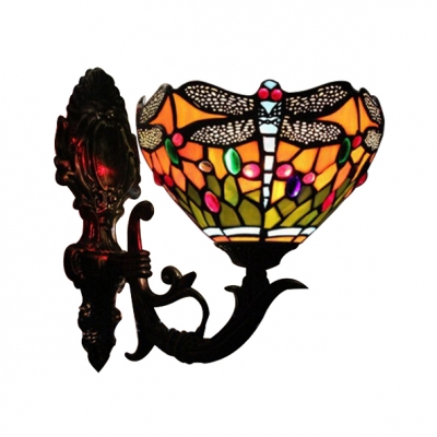 Vintage Butterfly Up Lighting Bowl Tiffany Design Wall Sconce with Colorful Shade, 8