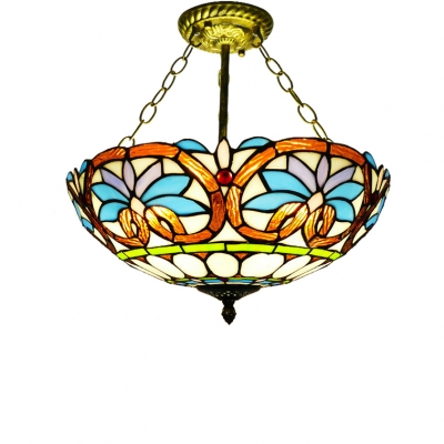 Vintage Victorian Tiffany-Style Three Light Semi-Flush Mount Ceiling Fixture, 16-Inch Wide, Up Lighting, HL467000