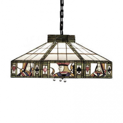 Poker Pattern Ceiling Fixture Tiffany-Style Art Glass Shade Loft Lamp in Vintage Style, 2 Light 16