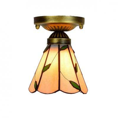 Down Lighting Leaf Theme Tiffany Warm Orange Glass Shape Semi Flush Mount Ceiling Fixture