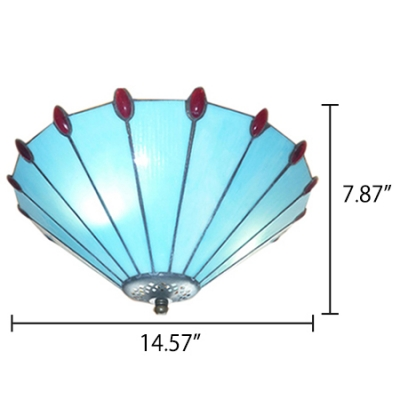 Simple 3-Light Tiffany Blue Stained Glass Flush Mount Ceiling Light with Conical Shade, Up Lighting