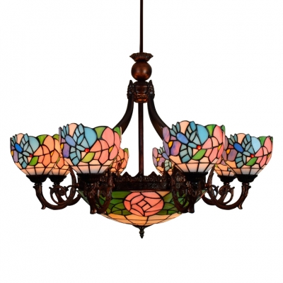 8 Arms Dragonfly&Floral Hanging Inverted Pendant Light with Stained Glass Bowl Shade
