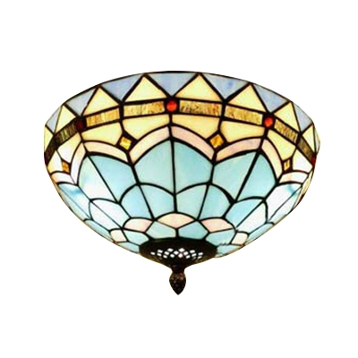 Baroque Design Flush Mount Ceiling Fixture with Tiffany-Style Blue Stained Glass, 12