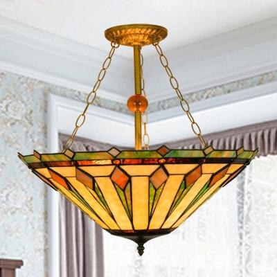 3 light tiffany art glass semi flush ceiling light in geometric 3 light tiffany art glass semi flush ceiling light in geometric style aloadofball Image collections