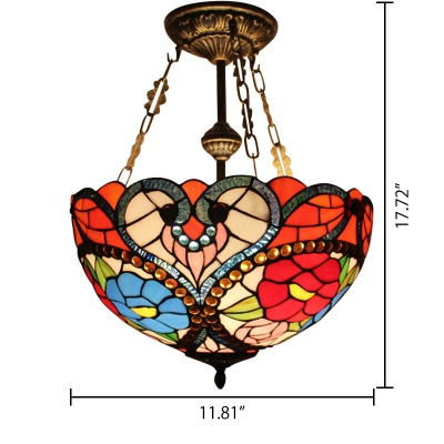 Baroque Tiffany Style 2/3-Light Semi-Flush Mount Ceiling Fixture with Colorful Flower Embellished 2 Sizes Available