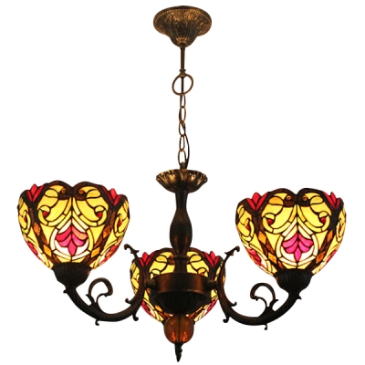 Fashion style copper finish chandeliers tiffany lights 3 light tiffany style baroque chandelier with stained glass shade aloadofball Image collections