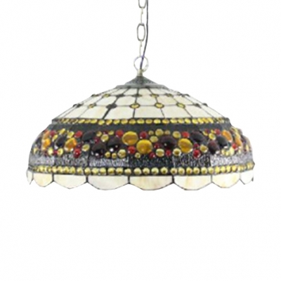 Vintage Style Two Light Pendant Light with Tiffany Multi-Colored Dome Glass Shade, 18