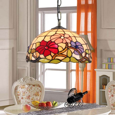 Floral Theme Tiffany Dome Glass Shade 2 Light Ceiling Fixture in Multi-Colored, 16