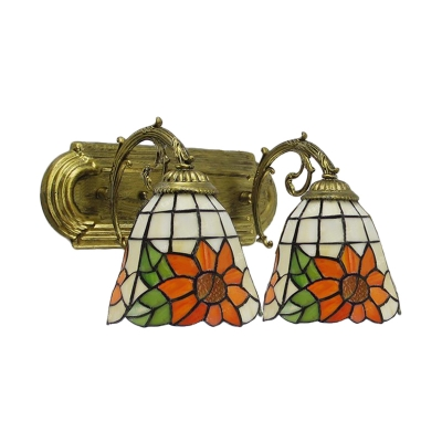 Floral Theme and Bell Shaped Tiffany 2-Light Wall Sconce with 16-Inch Wide Glass Shade, Colorful